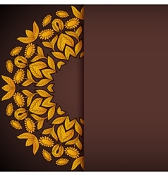 Gold and brown sunflowers round invitation vector