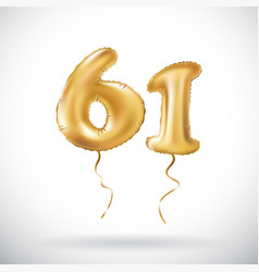 golden number 61 sixty one metallic balloon party vector image