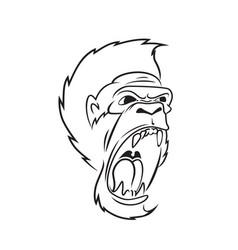 gorilla line art vector image vector image