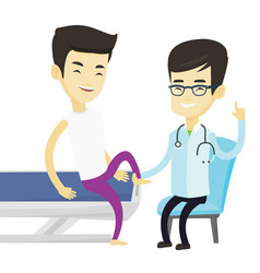 gym doctor checking ankle of a patient vector image vector image