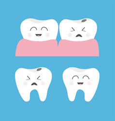 Healthy crying bad ill smiling tooth gum icon vector