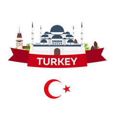istanbul turkey blue mosque tourism travelling vector image