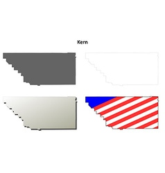 Kern county california outline map set vector