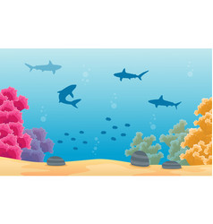 Landscape underwater with beauty coral reef vector