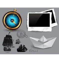 marine theme icons set vector image vector image