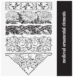 Medieval ornamental elements vector