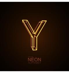 Neon 3d letter y vector