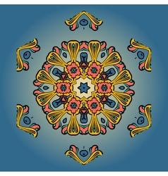 Orange mandala on blue background vector image