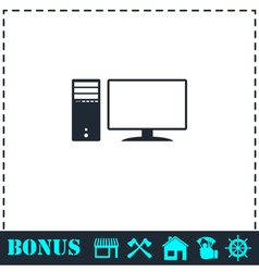 Pc icon flat vector
