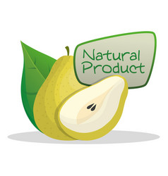 Pear natural product label vector