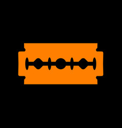 Razor blade sign orange icon on black background vector