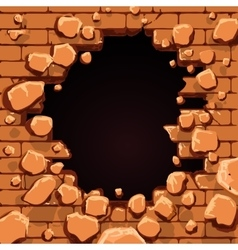 Red brick wall hole vector