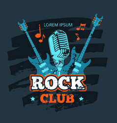 retro rock guitar and microphone music club vector image vector image