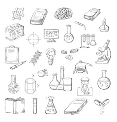 Scientist with laboratory research sketch icons vector