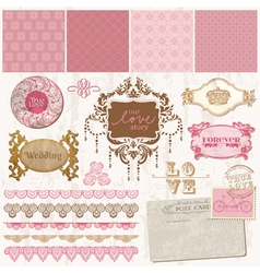 Scrapbook design elements - vintage wedding set vector