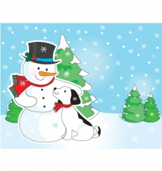 snowman and dog scene vector image