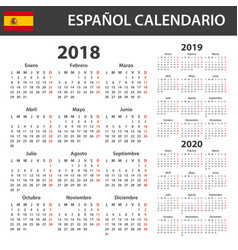 Spanish calendar for 2018 2019 and 2020 scheduler vector