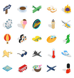 unique travel icons set isometric style vector image