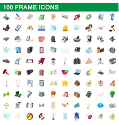 100 frame icons set cartoon style vector