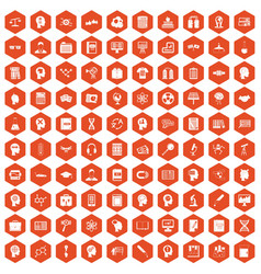 100 knowledge icons hexagon orange vector