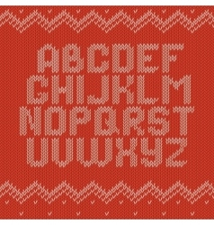 Crochet font knitted ornament vector