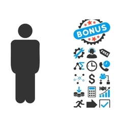 Man flat icon with bonus vector