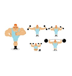 Retro athlete set poses ancient bodybuilder with vector
