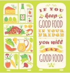 Healthy eating background with quote vector