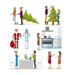 set of New Years Eve celebration design vector image