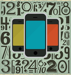 Retro Phones and Numbers vector image