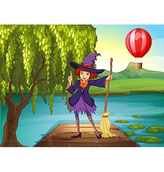 A witch holding a broom standing at the port vector