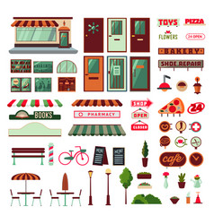 Shop facade and exterior elements set vector