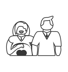 couple pregnant family outline vector image