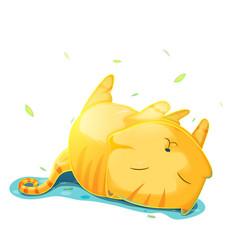 Orange cute cat cartoon vector