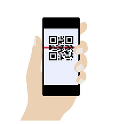 Phone in hand scanning qr code concept vector