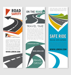 Road safety travel and car trip banner set design vector