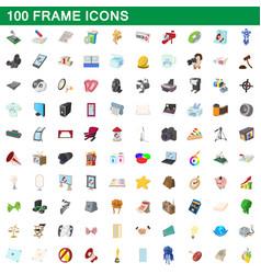 100 frame icons set cartoon style vector