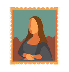 Minimal mona lisa picture vector