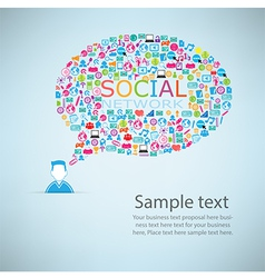 Template design Businessman idea with social netwo vector image