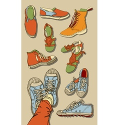 Set of cartoon shoes vector