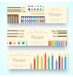 Flat art painter workshop with paint supplies vector