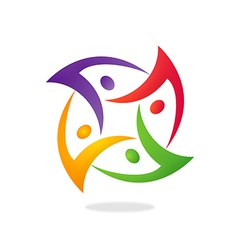 People group circular teamwork logo vector