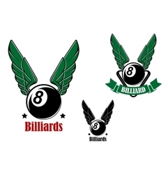 Winged eight billiard or pool ball vector
