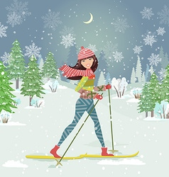 Happy girl on cross country skiing in winter vector