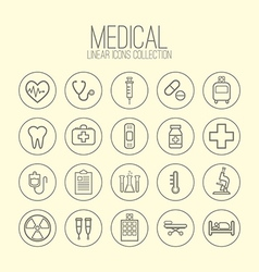 Medical linear icons vector