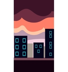 Vertical landscape  flat city at vector