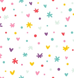 Abstract confetti hearts and stars seamless vector