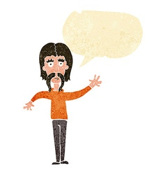 Cartoon waving man with mustache with speech vector
