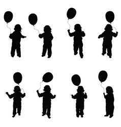 Child play with balloon set in black vector