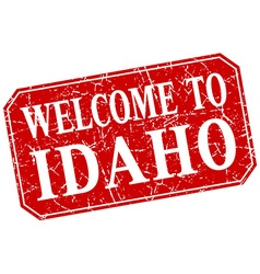 Welcome to idaho red square grunge stamp vector